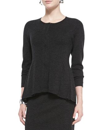 Merino Zip-Front Peplum Jacket, Cap-Sleeve Tee, Knee-Length Wool Skirt & ...