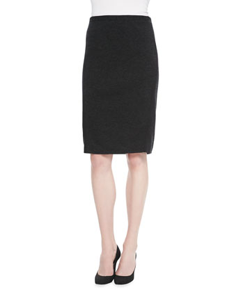 Knee-Length Merino Wool Skirt, Petite