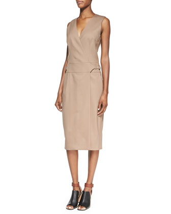 Sleeveless Wool-Blend Gabardine Dress, Tobacco