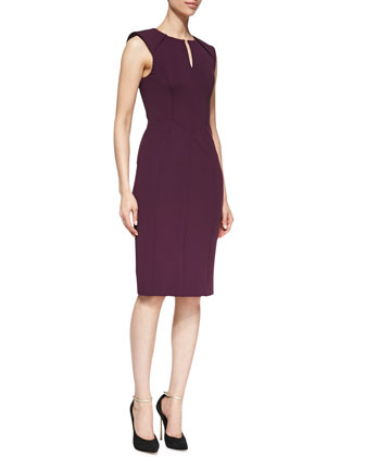 Sleeveless Caftan-Neck Sheath Dress, Plum