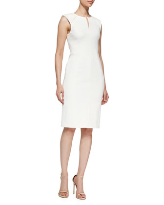 Sleeveless Caftan-Neck Sheath Dress, White