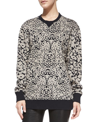 Amoeba-Print Knit Sweatshirt & The Skinny Leather Pants