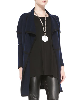 Cashmere Draped Cardigan, Long-Sleeve Tunic & Ponte Leather-Blocked ...