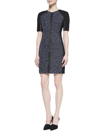 Mila Tweed Zip-Front Dress with Mesh Sleeves
