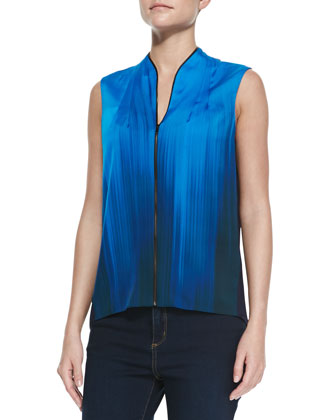Ariel Silk Two-Tone Sleeveless Blouse, Santorini