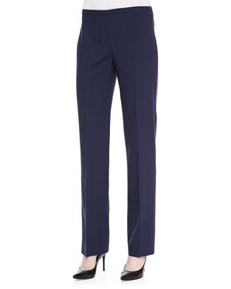 Theora Stretch-Wool Straight-Leg Pants