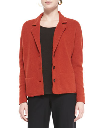 Notch-Collar Lambswool Jacket, Petite