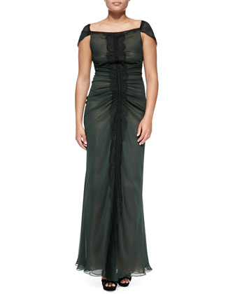 Lace-Paneled Gown