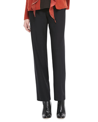 Washable-Crepe Straight-Leg Pants, Coffee, Women's