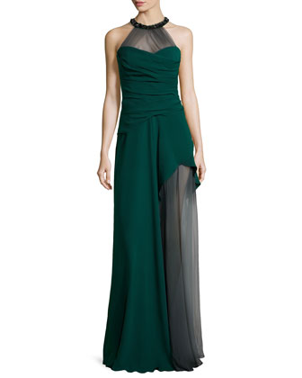 Bead-Embellished Draped Silk Halter Gown, Spruce