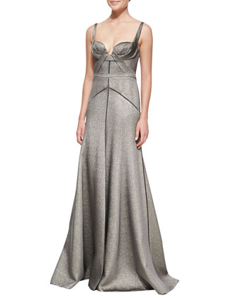 Metallic Full-Skirt Gown