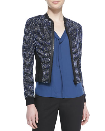 Sandie Cropped Zip-Front Tweed Jacket & Skyler Sleeveless Pleated-Front Blouse