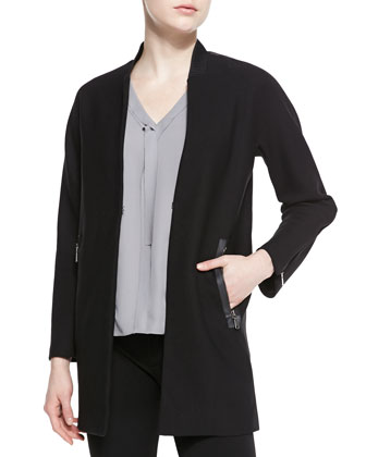 Leeann Zip-Detail Knit Coat & Skyler Sleeveless Pleated-Front Blouse