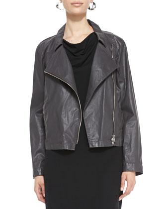 Waxed Moto Jacket & Sleeveless Jersey Shift Dress, Petite