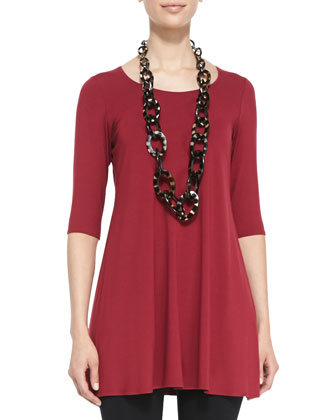 Half-Sleeve Silk Tunic, Women's