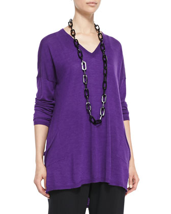 V-Neck Merino Box Top with Pockets, Women's