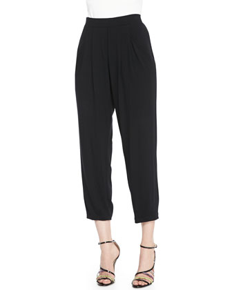 V-Neck Merino Box Top, Slouchy Jersey Ankle Pants & Modal Twill Tassel-Trim ...
