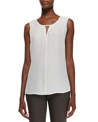 Sleeveless Keyhole Top, Bone, Petite