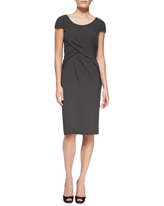 Cap-Sleeve Crisscross Drape Sheath Dress, Pine