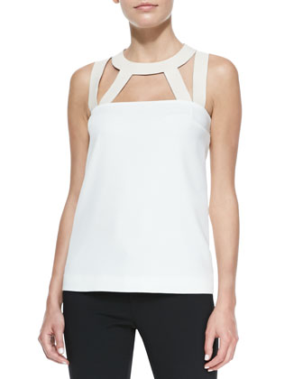 Jenna Leather Cutout Top, Ivory
