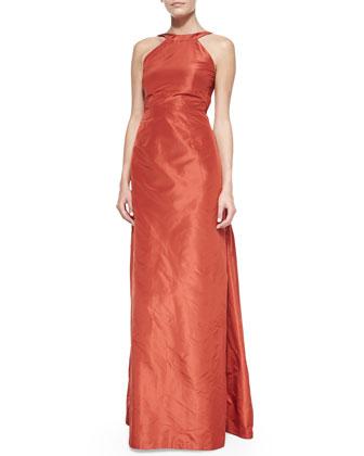 Brandie Silk Halter Gown