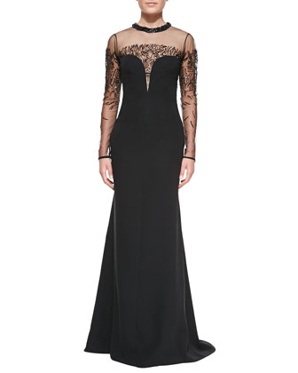 Long-Sleeve Embellished Bustier Gown