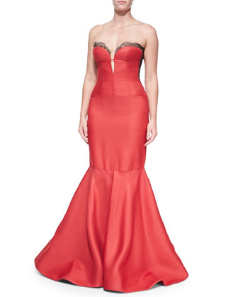 Strapless Bustier Mermaid Gown, Scarlet