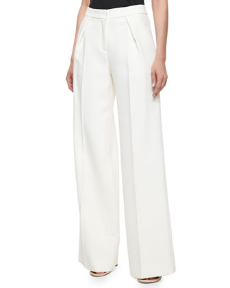 Pleated Wide-Leg Pants, Ivory