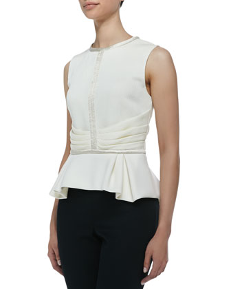 Sleeveless Crewneck Peplum Top, Snow
