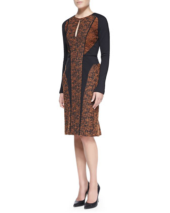Long-Sleeve Paneled Tweed & Lace Dress, Copper/Black
