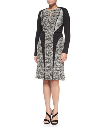 Long-Sleeve Tweed Dress with Lace