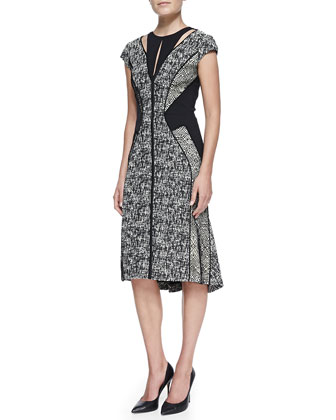 Cap-Sleeve Paneled Tweed & Lace Dress, Ivory/Black