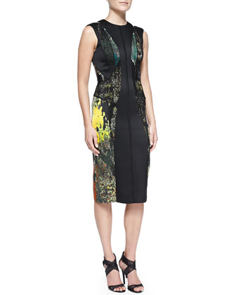 Cutout-Back Abstract-Print Dress with Lace, Moss Green