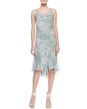Sleeveless Silk Godet Dress, Sage