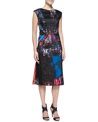 Abstract-Print Dress with Lace Overlay, Scarlet