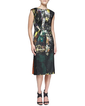 Abstract-Print Dress with Lace Overlay, Moss Green