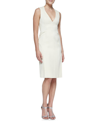Fitted V-Neck Dress with Side Slits, Ivory