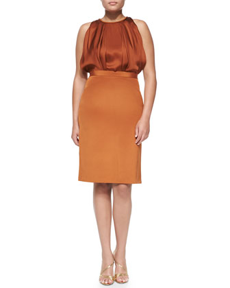 Sleeveless Silk Dress, Copper