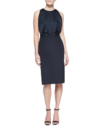 Sleeveless Silk Dress, Navy