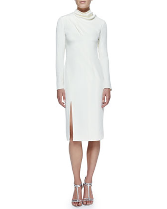 Long-Sleeve Asymmetric Sheath Dress