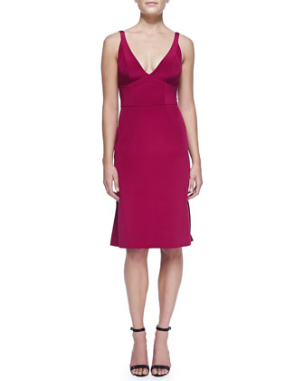 Sleeveless Dress with Pleated Back, Fuchsia