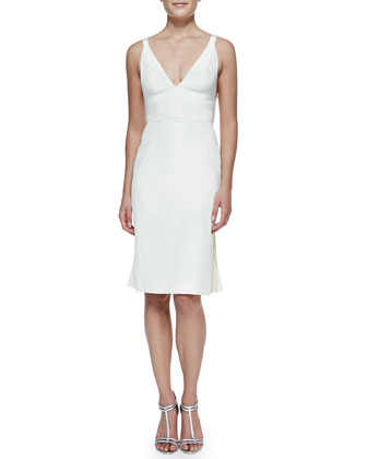 Sleeveless Dress with Pleated Back, Ivory