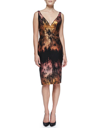 Metallic Jacquard V-Neck Sleeveless Sheath Dress, Copper/Multi
