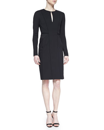 Long-Sleeve Fitted Dress, Black