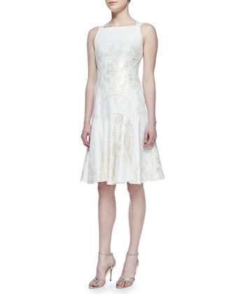 A-Line Metallic Jacquard Dress, Ivory/Gold