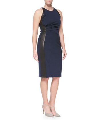 Leather-Panel Ruched Dress, Navy/Black