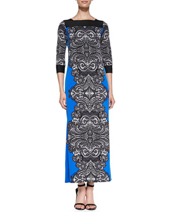 Print Jersey Lace-Border Long Dress, Women's