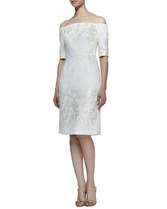 Jacquard Off-Shoulder Dress, Ivory/Gold