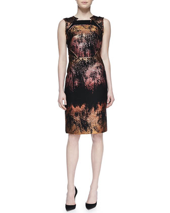 Metallic Jacquard Sheath Dress, Copper/Multi