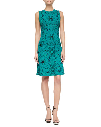Sleeveless Mosaic Jacquard Sheath Dress